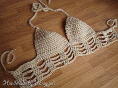 Handmade Crochet Shirt Bra Top Spacey Festival Gear Crochet Bralette Knit Halter Top Alien Babe Crochet Top Party Wear
