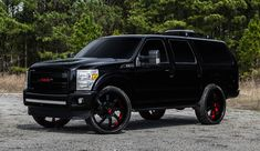 In many ways, Ford Excursion is a car right up Forgiato Wheels' alley. As we saw a few days ago with their white Hummer these guys like big cars . Ford Expedition, Lifted Ford Trucks, Big Trucks, Ford Excursion Diesel, Lifted Excursion, 4x4, Large Suv, Custom Wheels, Car Ford