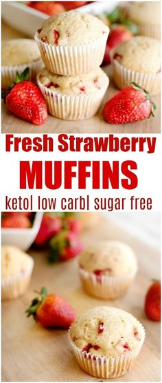 keto strawberry muffins Quick, easy and perfect for make ahead breakfast! #keto, #lowcarb, #sugarfree, #glutenfree, #fresh #breakfast, #recipes