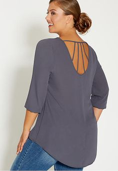 plus size chiffon blouse with lattice back - maurices.com