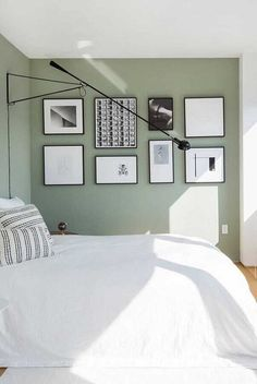 66 Premium MidSized Contemporary Guest Bedroom Design Ideas is part of Contemporary Guest bedroom - According to some designers, you need at least three different reasons for things to work! Green Bedroom Walls, Sage Green Bedroom, Bedroom Wall Colors, Bedroom Color Schemes, Green Rooms, Bedroom Layouts, Room Ideas Bedroom, Home Decor Bedroom, Green Bedroom Colors