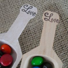 Candy Scoops - Wood Love Scoops for Candy Buffets or Favors - Item 1249