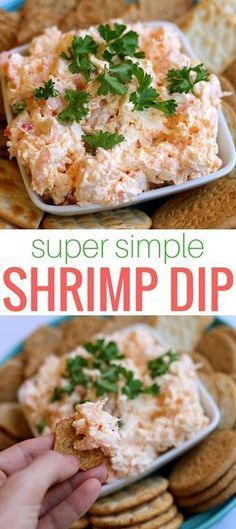 Simple Shrimp Dip http://www.pbfingers.com/shrimp-dip-cream-cheese/ Easy to make and packed with tiny shrimp, this simple shrimp dip with cream cheese will have you going back for more after every savory scoop! Bonus: You can prepare it the day before your party!
