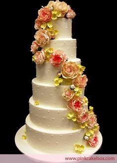 Pink Peony Wedding Cake by Pink Cake Box in Denville, NJ.  More photos at http://blog.pinkcakebox.com/pink-peonies-wedding-cake-2009-06-21.htm  #cakes