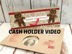 """Cookie Cutter Christmas, Greetings From Santa, Cookie Cutter & 2"""" Circle punches, Candy Cane Lane DSP, Red Glimmer Paper, Envelope Punch Board, Bow Paper Clips embellishments - Cash Holder video"""