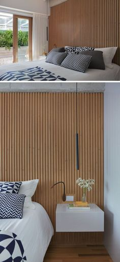 In this modern master bedroom a wood slat wall acts as an accent wall and it compliments the wood frame on the sliding glass door that opens up to the outdoor space with the hanging chair. Modern Master Bedroom, Modern Bedroom Design, Minimalist Bedroom, Master Bedroom Wood Wall, Trendy Bedroom, White Bedroom Furniture, Boys Bedroom Decor, Wood Interior Design, Apartment Interior Design