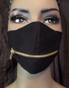 Easy Face Masks, Cool Masks, Diy Face Mask, Mouth Mask Fashion, Fashion Face Mask, Mascara 3d, Zipper Face, Techniques Couture, Mask Design