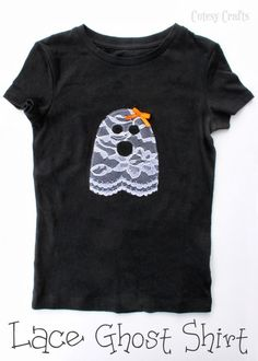Ghost Halloween shirt appliqued with lace!