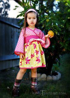Girly Flower Kimono Dress