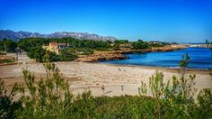 The beach at Cala de Sant Jordi, Spain