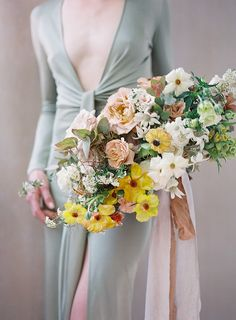 Bridal Bouquet with a refreshing color scheme of green, brown, yellow, white and dusty peach.