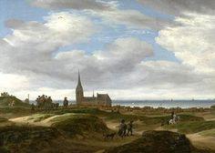 Salomon Jacobsz. van Ruysdael (1600-1670).  Gezicht op Scheveningen vanuit de duinen met reizigers op pad en de zee op de achtergrond.