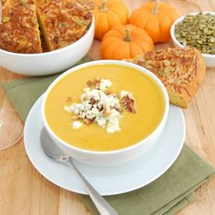 Savory pumpkin soup recipe. Can't wait to try it!