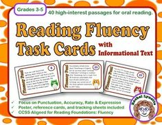 Reading Fluency Task Cards with Informational Text! Great practice for oral reading - aligned with CCSS.ELA-Literacy.RF4A-C