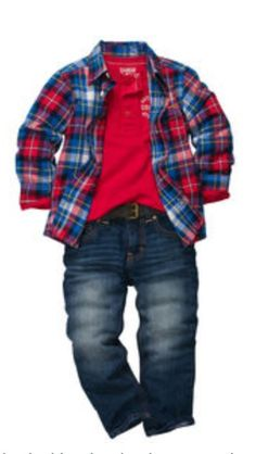 OshKosh b'gosh toddler boy outfit. Button-up plaid style. Back to school 2013