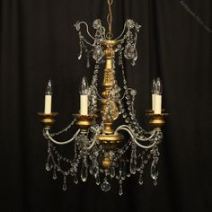 Antiques Atlas - Florentine Giltwood Crystal Antique Chandelier Italian Chandelier, Antique Chandelier, Antique Lighting, Ceiling Rose, Ceiling Lights, Design Your Home, Swarovski Crystals, Bulb, Carving