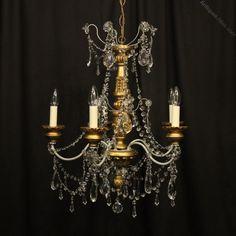 Antiques Atlas - Florentine Giltwood Crystal Antique Chandelier