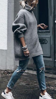 knit jumper. denim. sneakers. fall street style.