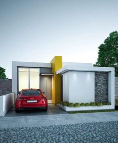 Fachada 12 - Another! Modern Small House Design, Small Modern Home, Minimalist House Design, Modern Design, Modern Bungalow House, Modern House Plans, Arch House, Facade House, Facade Design