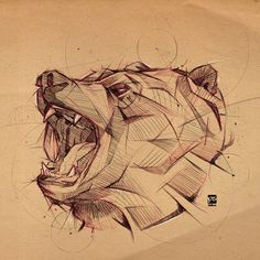 Bear Sketch Psdelux by psdeluxe on DeviantArt Animal Sketches, Animal Drawings, Art Drawings, Awesome Drawings, Tattoo Sketches, Drawing Sketches, Sketch Art, Art D'ours, Bear Sketch