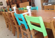 Plasti Dip the top of wooden chairs to give them a brand new look!