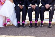 Have the groomsmen socks match our shoes! Perhaps not pink lol