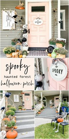 """Halloween DIY Spooky Forest Porch. Add some branches, crows and moss to create an easy """"spooky"""" forest for Halloween!"""