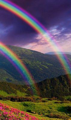 Rainbow Magic, Rainbow Sky, Love Rainbow, Rainbow Colors, Beautiful Sky, Beautiful Landscapes, Beautiful Places, Beautiful Pictures, Rainbow Photography
