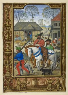 "Calendar page for November with a miniature of a nobleman returning from a hunt, from the Golf Book (""Book of Hours, Use of Rome""), workshop of Simon Bening, Netherlands (Bruges). 1540."