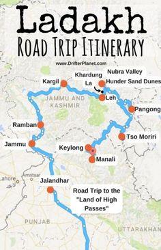 Ladakh Road Trip Itinerary Map – Delhi – Gurgaon – Jammu – Ramban – Kargil – Khardungla – Leh – Nubra Valley – Hunder – Pangong – Tso Moriri – Keylong – Manali We are want to say thanks if you like to share this post. Travel Maps, Travel List, Asia Travel, Travel Destinations, Funny Travel, Srinagar, Agra, Road Trip Playlist, Road Trip Map