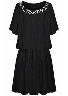 Vestido gasa plisado aplique strass-Negro EUR22.63 www.sheinside.com