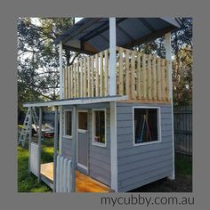Due to popular demand... Here is My Cubby's latest cubby design.  Lots of customers have been asking for an enclosed cubby, but also want an upper level for the active play. It's so easy to add a rockwall, cargo net, fireman's pole, slide etc to this cool cubby.  We can make it with or without the roof as well! So many possibilities!  What do you think?? #mycubby #newcubby #cubby #cubbies #playhouse #adventure #playideas #fort #outsideplay #backyard #backyardideas