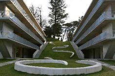 Casa dell'Accademia, Mendrisio, by Könz-Molo - Google Search Student House, School Architecture, Outdoor Furniture, Outdoor Decor, Landscape, Building, Lugano, Home Decor, Mountain