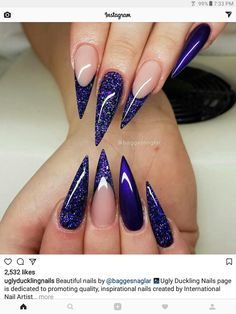From square to pointy nails on 💜 Sexy Nails, Glam Nails, Dope Nails, Fancy Nails, Blue Nail Designs, Acrylic Nail Designs, Seasonal Nails, Pointy Nails, Rainbow Nails