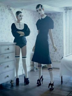 Tim Walker shoots Audrey Marnay and Kirsi Pyrhonen in the 'Mechanical Dolls' editorial for the October 2011 issue of Vogue Italia.