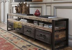 Transform an everyday piece of furniture into a majestic antique! – Home Trends 2020 Reclaimed Furniture, Vintage Industrial Furniture, Metal Furniture, Diy Furniture, Bedroom Furniture, Furniture Design, Industrial Tv Stand, Furniture Websites, Industrial Office