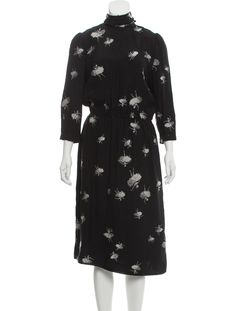 Black and multicolor Marc Jacobs midi dress with embroidered pattern throughout, crew neck, long sleeves, sash tie at nape and button closures at back.Designer Fit: Dresses by Marc Jacobs typically fit true to size. Long Sleeve Midi Dress, High Neck Dress, Fabric Tags, Dress Outfits, Dresses, Sash, Marc Jacobs, Crew Neck, Tie