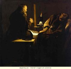 Georges de La Tour. St. Francis in Ecstasy. This is a forgery art, but one of my favorite. His pupil draw.la tour's gone by fire.Wish I could see this again. musée de tessé le mans