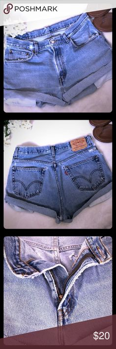 Levi's 560 Loose Fit Distressed Cut off shorts Levi's 560s  Cut offs Men size 33 17in waist flat lay 13in leg opening For Women Or Men Distressed  100% Cotton My lighting is off today( best color is first picture ) Levi's Shorts Jean Shorts