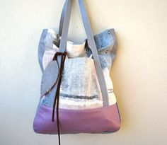 NEW STYLE///Lu Lu Tote in Southwestern Fabric with Purple and Grey Leather Accents