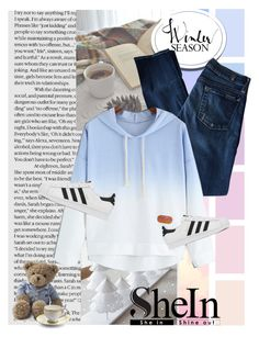 """""""SheIn Blue Hooded Sweater"""" by gabygirafe ❤ liked on Polyvore featuring 7 For All Mankind, adidas, Lexington, Prouna, women's clothing, women's fashion, women, female, woman and misses"""