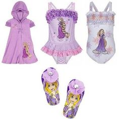 Disney Store Tangled Princess Rapunzel 4-Piece Swimwear/Swimsuit Gift Set with 2 Bathing/Swim Suits and Hooded Cover Up Hoodie Dress for Youth Girls Size Small 5/6 plus Matching Flip-Flops/Sandals/Pool Shoes (Size 11/12)