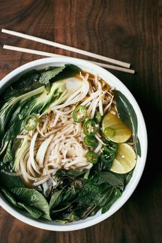 Learn how to make delicious, rich vegetarian pho complete with bok choy, bean sprouts, and rice noodles.