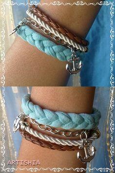 Pulseira com cordão, trapilho, couro e corrente + âncoras.