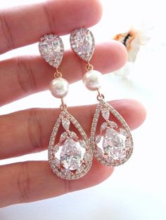 Bridal Earrings ROSE GOLD Fancy Cubic Zirconia by JCBridalJewelry