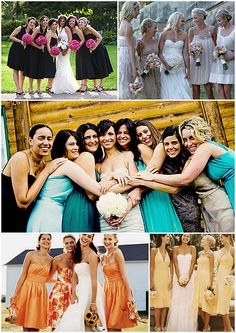 List of ways to mix up your Bridesmaids Dresses in an incredible way to add creativity to your Wedding and make your BMs feel special.