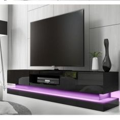 Buy Grade - Large Black High Gloss TV Unit with LED Lighting - TV's up to - Evoque from Appliances Direct - the UK's leading online appliance specialist Black Gloss Tv Unit, High Gloss Tv Unit, Black Tv, Large Black, Large Tv, Tv Entertainment Stand, Living Room Entertainment Center, Long Tv Unit, Living Room Furniture
