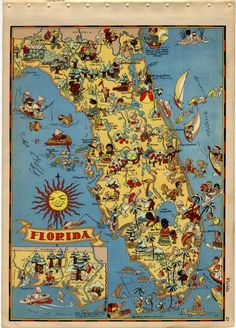 Florida Cartoon Map // The Sunshine State // Original Vintage Ruth Taylor White Map Vintage Florida, Old Florida, Places In Florida, Florida Travel, Florida Beaches, Florida Maps, Florida Girl, Florida Usa, South Florida
