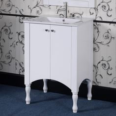 The Awesome Web Ceramic Wood inch White Bathroom Vanity by Infurniture