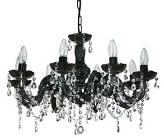 Chandelier Crystal Black Marie Therese Eight Light